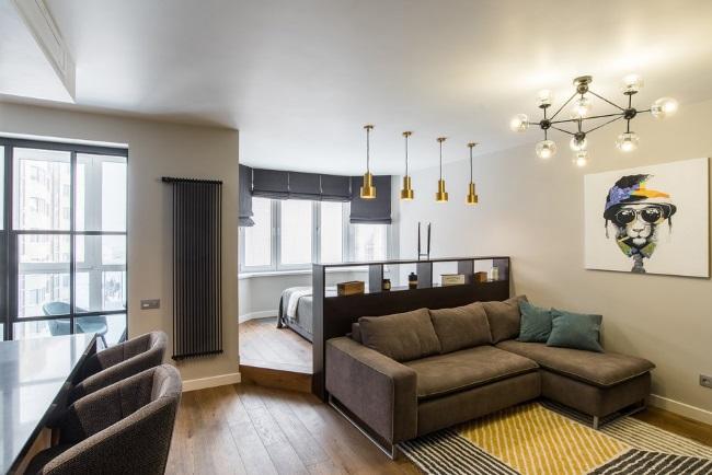 10-apartament open space 47 mp cu dormitor amenajat pe o platforma