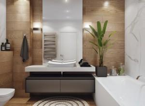 10-baie moderna cu cada si cu peretii placati cu gresie ce imita dusumeaua