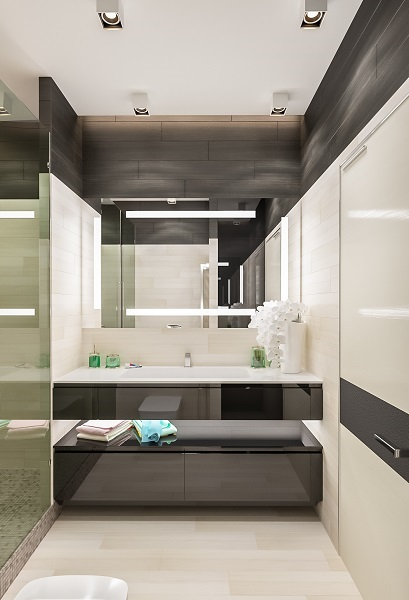10-baie moderna minimalista amenajata si finisata in crem si gri antracit
