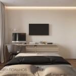 10-birou lucru si tv pe peretele opus patului idee amenajare dormitor 10 mp