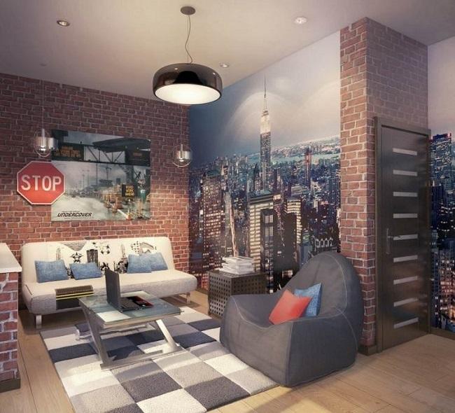 10-combinatie tapet decorativ imitatie caramida si foto tapet imagine oras decor living tineresc