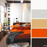10-combinatii de gri ocru portocaliu si maro inchis decor dormitor