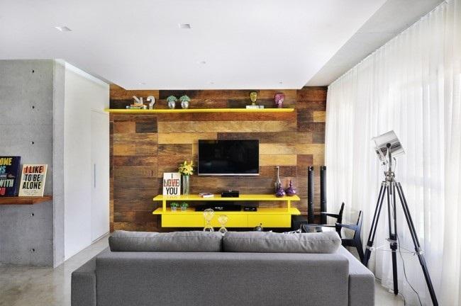 10-consola tv si polita galbene mobilier minimalist living