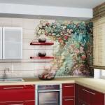 10-faianta crem cu imprimeu decorativ decor bucatarie moderna mobila rosie
