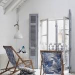 10-fotolii tip sezlong din panza cu imprimeu alb-albastru cu tematica maritima