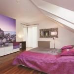 10-fototapet decorativ aplicat pe peretele de la picioarele patului din dormitor