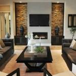 10-idee amenajare perete TV living cu semineu si piatra naturala