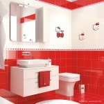 10-idei decor baie moderna in alb si rosu