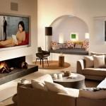 10-living cu semineu casa veche din piatra Ibiza