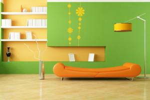 10-living modern minimalist decorat in verde portocaliu si galben
