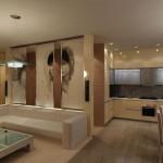 10-living si bucatarie moderna amenajate in spatiu comun configurare in forma de L
