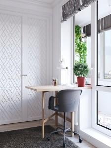 10-mic birou langa fereastra garsoniera mica amenajata stil modern scandinav