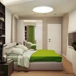 10-mobila alba in dormitor amenajat modern cu accente vernil si pereti bej