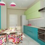 10-mobila bleu turcoaz cu vernil bucatarie moderna