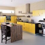 10-mobila moderna bucatarie galben negru si maro