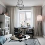 10-model living scandinav cu mobila alb si negru si peretii zugraviti in gri