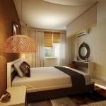 10- pat cu baldachin dormitor modern amenajat si decorat in maro si crem
