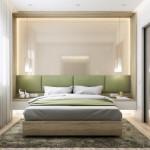 10-pat cu tablie fixata pe perete capitonata cu verde olive
