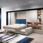 10-pat rabatabil la perete integrat in mobila de living cu dulapuri si canapea