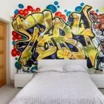 10-perete de accent cu desen graffitti la capul patului din dormitor