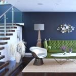 10-perete living zugraviti in albastru in contrast cu mobila colorata si plinta alba