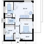 10-schita plan casa mica doar parter 76 mp cu 2 dormitoare