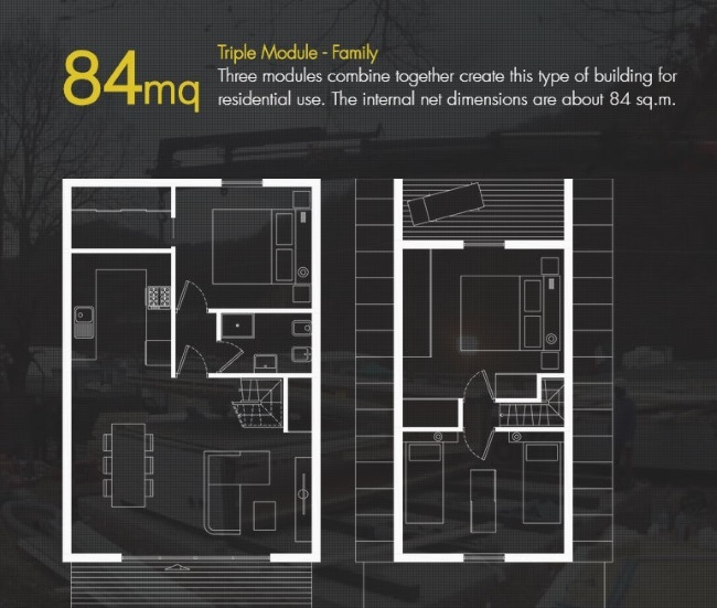 10-schita plan parter si etaj casa modulara 84 mp MADI Home cu 3 dormitoare