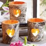 10-suporturi lumanari decorative confectionate din scoarta de mesteacan