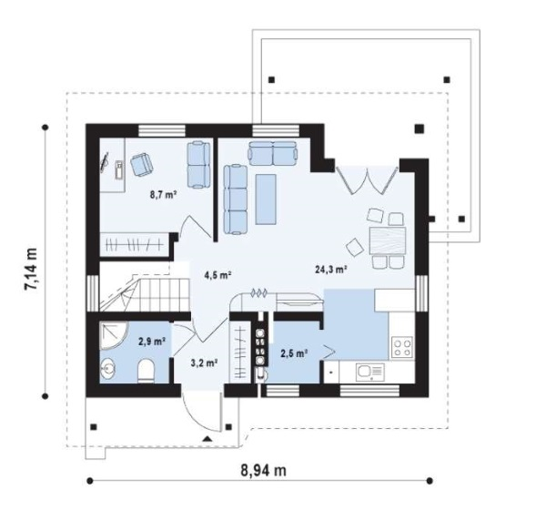 11-Schita plan parter casa mica suprafata totala 91 mp