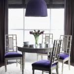 11-accente violet in amenajarea unui dining decorat ain alb si gri