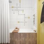 11-baie decorata in alb si galben apartament mic 45 mp
