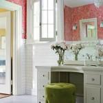 11-baie eleganta alba decorata cu tapet floral coraille