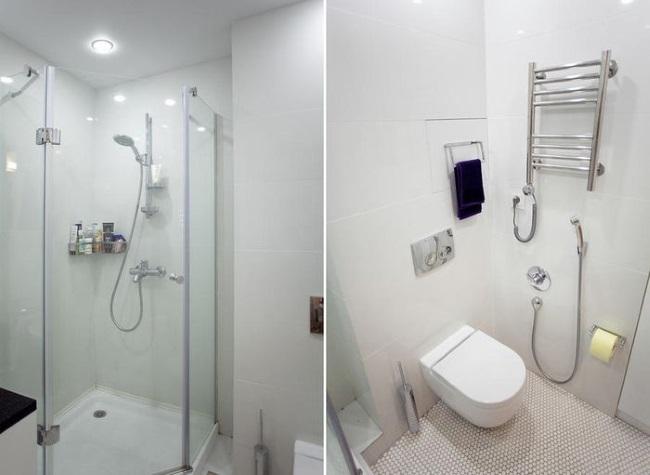11-baie moderna cu cabina de dus amenajata in garsoniera transformata in apartament