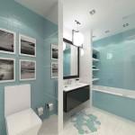 11-baie moderna decorata in alb negru si turcoaz
