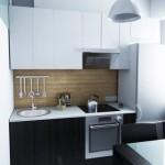 11-bucatarie de 5 mp cu mobilier compact wenge si alb