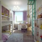 11-camera copii cu accente colorate galbene roz si verde smarald