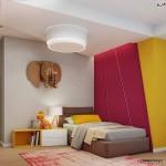 11-camera copil decorata cu rosu galben si gri