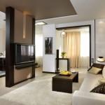 11-canapea crem amenajare living modern alb cu mobila wenge