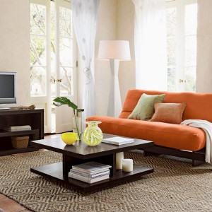 11-canapea extensibila compacta culoare portocalie living