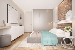 11-caramida aparenta in finisarea dormitorului modern decorat in alb gri si bej