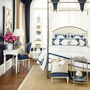 11-covor din sisal cu bordura din bumbac decor dormitor amenajat in alb si bleumarin