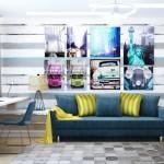 11-decor camera adolescent amenajata in albastru si alb