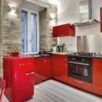 11-design bucatarie moderna accente retro mobila rosie blat negru