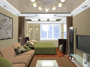 11-dormitor amenajat langa fereastra dintr-un living de apartament