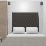 11-dormitor mic cu doua pendule suspendate pe post de veioze de noapte