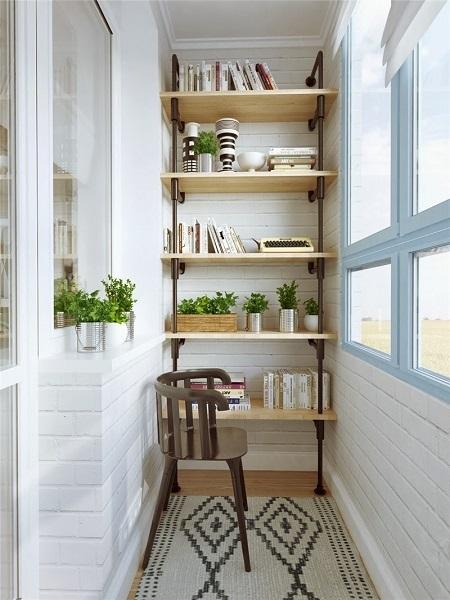 11-etajera ingusta pentru organizarea unui balcon mic