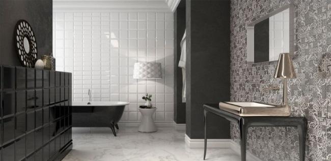 faianta decorativa Halles Blanco Argenta alba imprimeu negru