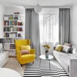 11-fotoliu galben piesa de accent in amenajarea unui living scandinav