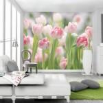 11-fototapet cu lalele roz dimensiuni macro decor dormitor