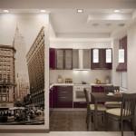 11-fototapet decorativ bucatarie imagine oras in alb si negru